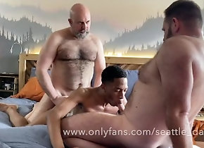 hairy;dad;dilf;beard;bear;horny;threesome;3some;group;bush;seattledad;realmenfullbush;big-cock,Bareback;Daddy;Big Dick;Group;Gay;Bear;Amateur;Chubby Bears share a...