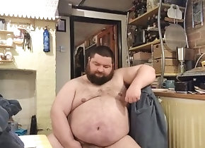 kink;fat;belly;bear,Solo Male;Gay naughty kitchen