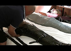 bondage,gay,mummification,inflatable-gag,duct-tape,heavy-bondage,rubber-hood,dave-tie-em-up,fetishbound,rubber-sleepsack,gay Mummified and...