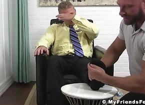 myfriendsfeet;feet;hunk;sole-licking;fetish;worship;toe-sucking;softcore;office;bearded,Gay;Hunks;Feet Blonde officer...