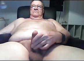 Masturbation (Gay) grandpa stroke on...