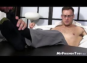 cumshot,glasses,piercing,socks,gay,massage,feet,bald,hunk,toes,soles,foot-fetish,bare-feet,feet-licking,myfriendstoes,gay Classy office...